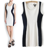 Women's mango 2013 fashion o-neck knitted cotton dress slim hip one-piece dress  free shipping