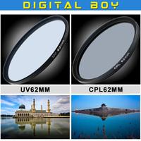 62mm Ultra-Violet UV filter+Circular polarizing CPL C-PL 62 mm  lens filter for Canon Nikon Sony Camera lens