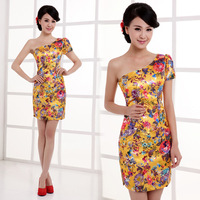 The new retro Chinese style shoulder wedding toast cheongsam color evening dress cheongsam