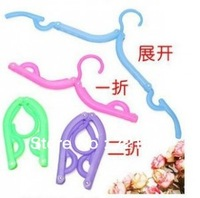 Free Shipping 5PSC/LOT Colorful Folding Magic Hangers Folding Clothes Hanger Traveling Foldable Coat Hanger Clothes Rack