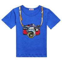 2013 male child short-sleeve T-shirt child camera pattern male female child summer child clothes