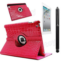 For New iPad 2 3 & 4 360 Rotating Crocodile PU Leather Cover Case Hot Pink 16371