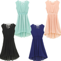 2013 New Chic Womens Sleeveless Pleated Skirt Vest Chiffon Casual Dress 6 Colors