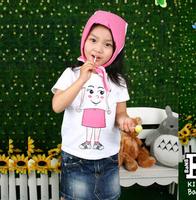 Child summer short-sleeve T-shirt girls clothing little girl clothing clothes 100% cotton o-neck cartoon costumes