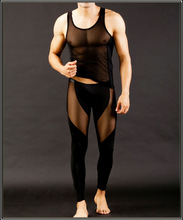 2013 New Fashion Mens Sexy Transparent t ultra-thin Viscose Trousers & Vest Male Sleepwear set /Homewear 4 Color Freeshipping(China (Mainland))