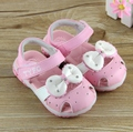 Free Shipping, Spring and summer genuine leather female child princess bow lamp sandals baby toe cap covering sandals