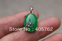 Green jade pendant, alloy plum mosaic (oval jade).Pendant Necklace Pendant 17x13x6mm