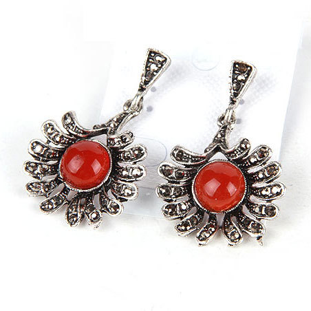 (Mix Order &gt; $10 is Free Shipping)Hot Sale New Arrival Fashion Retro Red Sun Shape Pendant Earrings Made of Alloy Rhinestones An(China (Mainland))