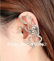 Punk earrings E4716 ear cuff earrings 12pc/lot, Min.order is $15 (mix order) Octopus Earrings Silver Plated Animal Ear Cuff