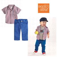 Method single boy children Plaid short-sleeved pants leisure suit male baby summer new