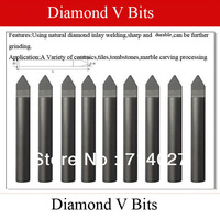 Free Shipping 120 Degree Diamond V Bits V Shape Bits for Various Ceramics Tiles Tombstones Marble Carving Processing 10pcs/lot