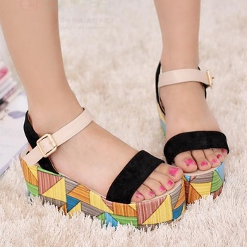 2013 fashion  colorful platform shoes women high-heeled sandals flat sweet brief young girl shoes free drop shipping
