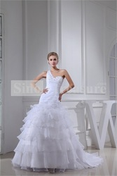 White Princess One-shoulder Brush/ Sweep Train Sleeveless Wedding Dress(China (Mainland))