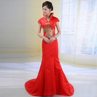 Love bride cheongsam liturgy cheongsam 2013 fish tail slim noble train cheongsam
