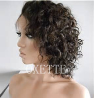 Free shipping Glueless full lace wigs curly short curly human hair full lace wig free part Brazilian curly virgin hair wig