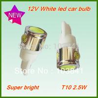 Free shipping Retail 2.5W car led lamp T10 5050 SMD Bulbs white Side Car Light 194 168 W5W 168 12V T10 Wedge light 10pcs/lot