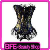 Adjustable Sexy Satin Long Bodied Corset Basque Nightwear Dark blue with golden pattern # S Free shipping