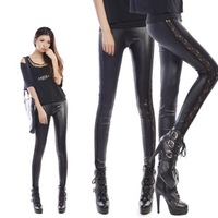 hot sexy  side lace Imitation leather Patchwork pants slim fit Floral leggings women's stretch pants