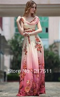 Free Shipping New 2013 Women Long Maxi Dress Silk Goddess Evening Party Gowns Dazzing Floral Print Ruffled Slim High WaistN60020