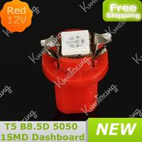 Led Indicator Car Red 5050 1Smd DC12V B8.5D Dashboard Gauge Light Interior Side Lamp T5 Bulb Speedo free shipping