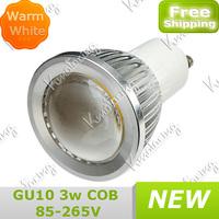 High New White GU10  COB Energy 85-265V Spotlight Led Down Warm Saving Bulb 3W Power Lamp free shipping
