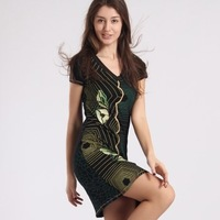 dresses new fashion 2013 summer women's desigual fashion embroidered knitted one-piece dress plus size XL  free shipping