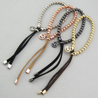 free shipping 10pcs/lot New fashion Cheap Jewelry Bead Stretch Bracelet rose gold, black, platinum, gold