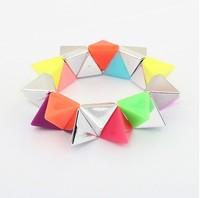 Min. order is $15(can mix)2013 fashion bracelets&banges/Colorful three-dimensional geometric Stretch Bracelet