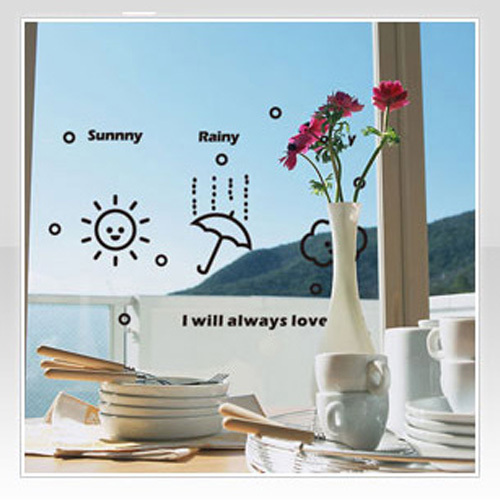 Free Shipping Weather Sign Wall Sticker Kid Room Decor Mural Art Vinyl Wallpaper Home Window Glass Decoration Decal W163(China (Mainland))