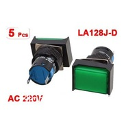 5 Pcs Green Indicator Light 2 Terminals Fault Signal Lamp AC 220V