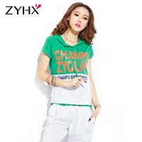 2013 women's casual set slim female short-sleeve sportswear hooded sweatshirt