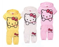 Hot Sale ! Fashion Kids Suit , Cute Hello Kitty Children Clothing Short Sleeve T-shirt + Pants Girl's Clothes Sets D046