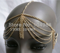 2013 FREE SHIPPING New arrival Unique Design Grecian StyleFashion Women Gold/ Silver Metal Head Chain Jewelry Headband  Piece