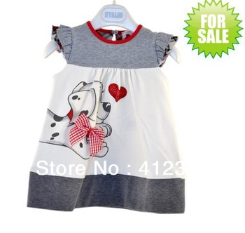 HOT 5pcs/lot baby children Girls Fashion dress casual party princess dog print Dresses