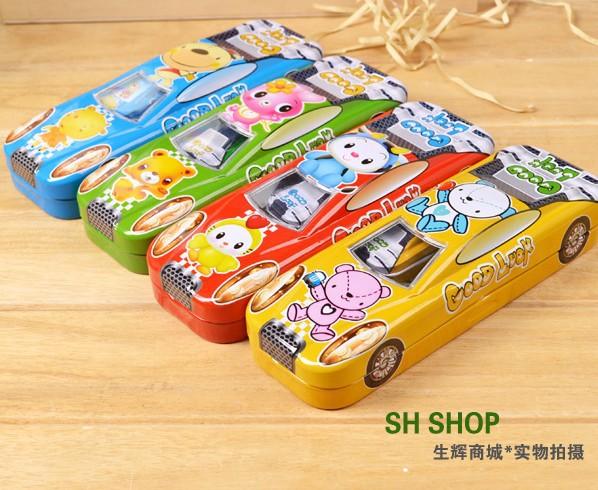 Free Shipping Special Cute Cartoon Car Shape Happy Novelty Pencil Case