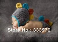 100% Pure Handmade Crochet Cute Knitted hat Newborn Baby Photography Props Dinosaur Costume Free shipping