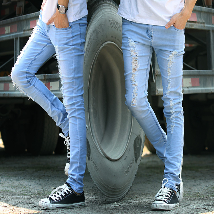 2013 spring and summer men&#39;s jeans light blue wear white hole jeans pants Slim beggare denim pants man Free shipping best seller(China (Mainland))