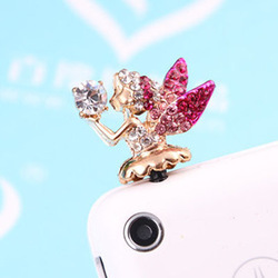 Promotion cute rhinestone angel dust plug earphone jack plug fashion phone accessories wholesale 6pcs/lot rose red/white(China (Mainland))
