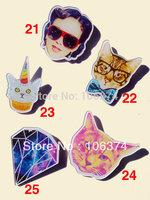 2013 New Hot Selling Acrylic Badge Cool Brooch Pins Beauty Cat Shaped 30pcs/lot Mix items