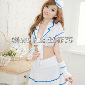 Free Shipping!A Set White Sexy Womens Chiffon clothes Cosplay Airline stewardess temptation  sleepwear Free Size nightgown