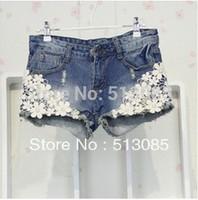 2013 New Arrival  Women Slim Denim Lace Flower Appliques Korean Short Shorts Jeans Shorts Pants Size S M L Free Drop Shipping