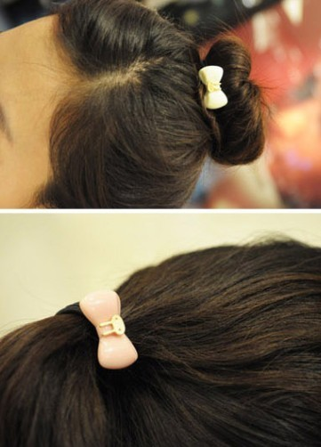 Small rabbit bow hair ring hair rope fastening rope mini order 15usd(China (Mainland))