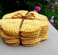 set of 12 pieces  Cottage  Vintage Look Crocheted Doilies,4 colors