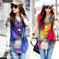2013 summer female summer casual o-neck loose medium-long plus size all-match elegant short-sleeve T-shirt