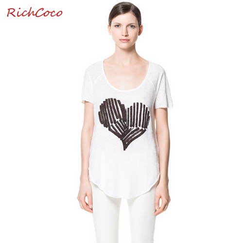 Fashion normic asymmetrical sweep low o-neck heart print short-sleeve T-shirt shirt d051(China (Mainland))