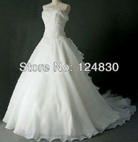 2014 Factory Promotion Hot sell Free shipping Charming A-Line Strapless Ruffles Sweetheart Wedding dress