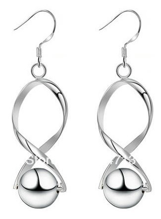 925 sterling silver earrings 925 silver jewelry Hoop Ball earring free shipping(China (Mainland))