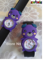 1pc Silicone Slap On Children KIDS girl boy WATCH DOG puppy purple Face Rubber Silicon Jelly Reloj animal(China (Mainland))