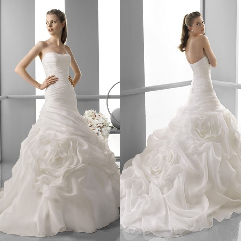 Free shippingmeimaid white orgazna ruffles cheap long tail for White elegant wedding dresses