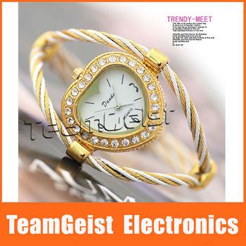 Brand NEW Heart Bracelet Style Lady's Wrist Watch, Jewelry Diamond Band ladies Quartz Fashion WristWatch Gift EMS Free Shipping
